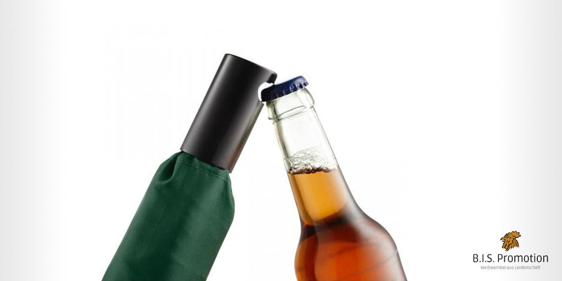 Werbeschirm, Taschenschirm, Flaschenöffner, Kohlfahrt, Werbeartikel, Fare